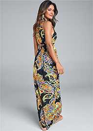 Back View Paisley Printed Maxi Dress