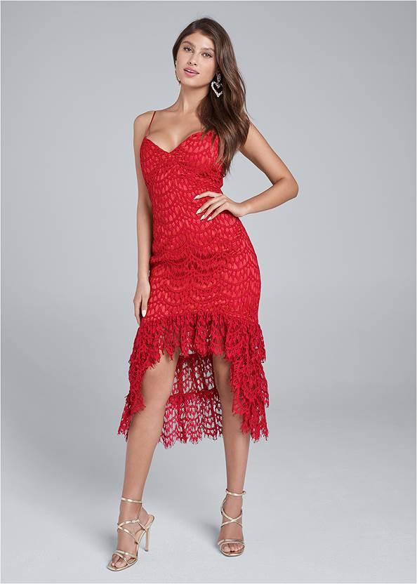 High Low Lace Dress,Rhinestone Heart Earrings,Multi Strap Ankle Wrap Heels
