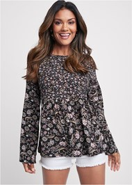 Front View Floral Printed Top