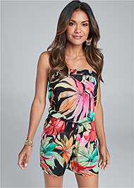 Front View Strapless Floral Romper