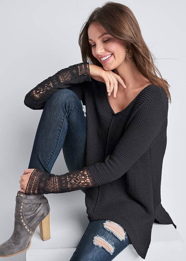 Casual Waffle Knit Top,Capri Legging Two Pack,Ripped Skinny Jeans,Mid Rise Slimming Stretch Jeggings,Beaded Leaf Shape Earrings,Lace Detail Bootie