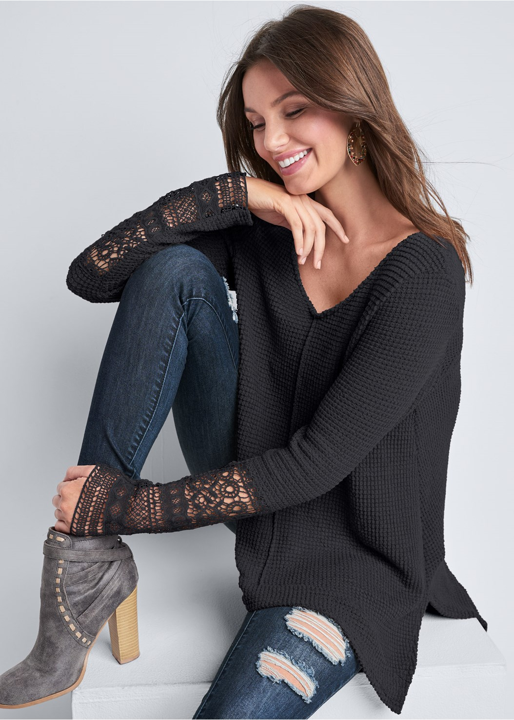 Casual Waffle Knit Top,Capri Legging Two Pack,Ripped Skinny Jeans,Mid Rise Slimming Stretch Jeggings,Lace Detail Bootie