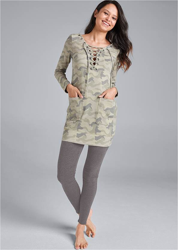 Lace Up French Terry Dress,Basic Leggings,Rhinestone Net Sneakers,Etched Boho Hoop Earrings,Tassel Detail Handbag