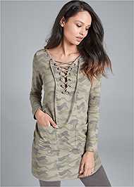 Alternate View Lace Up French Terry Dress