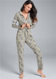 Full front view Stripe Lounge Jumpsuit