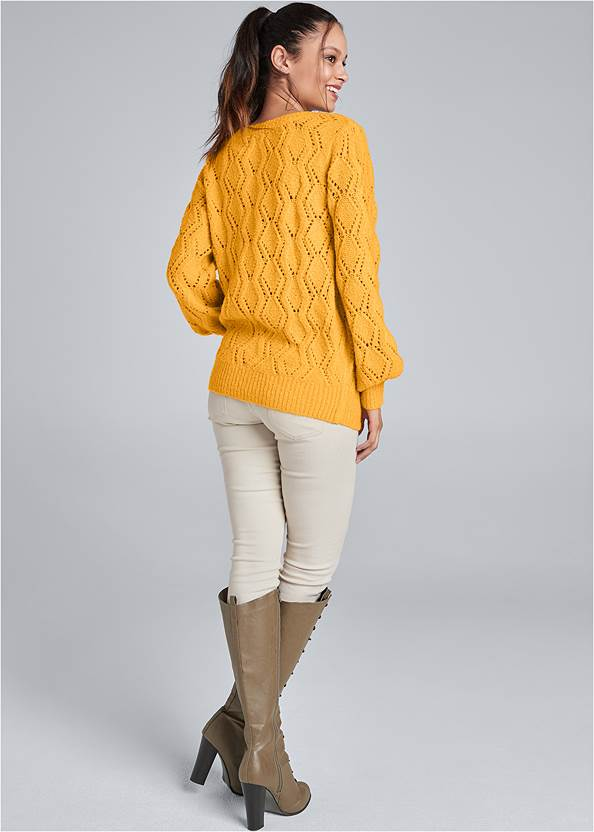 Back View Open Knit Sweater