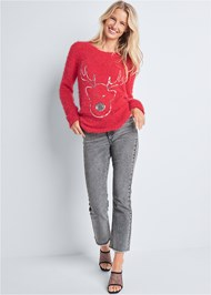 Full Front View Reindeer Sweater