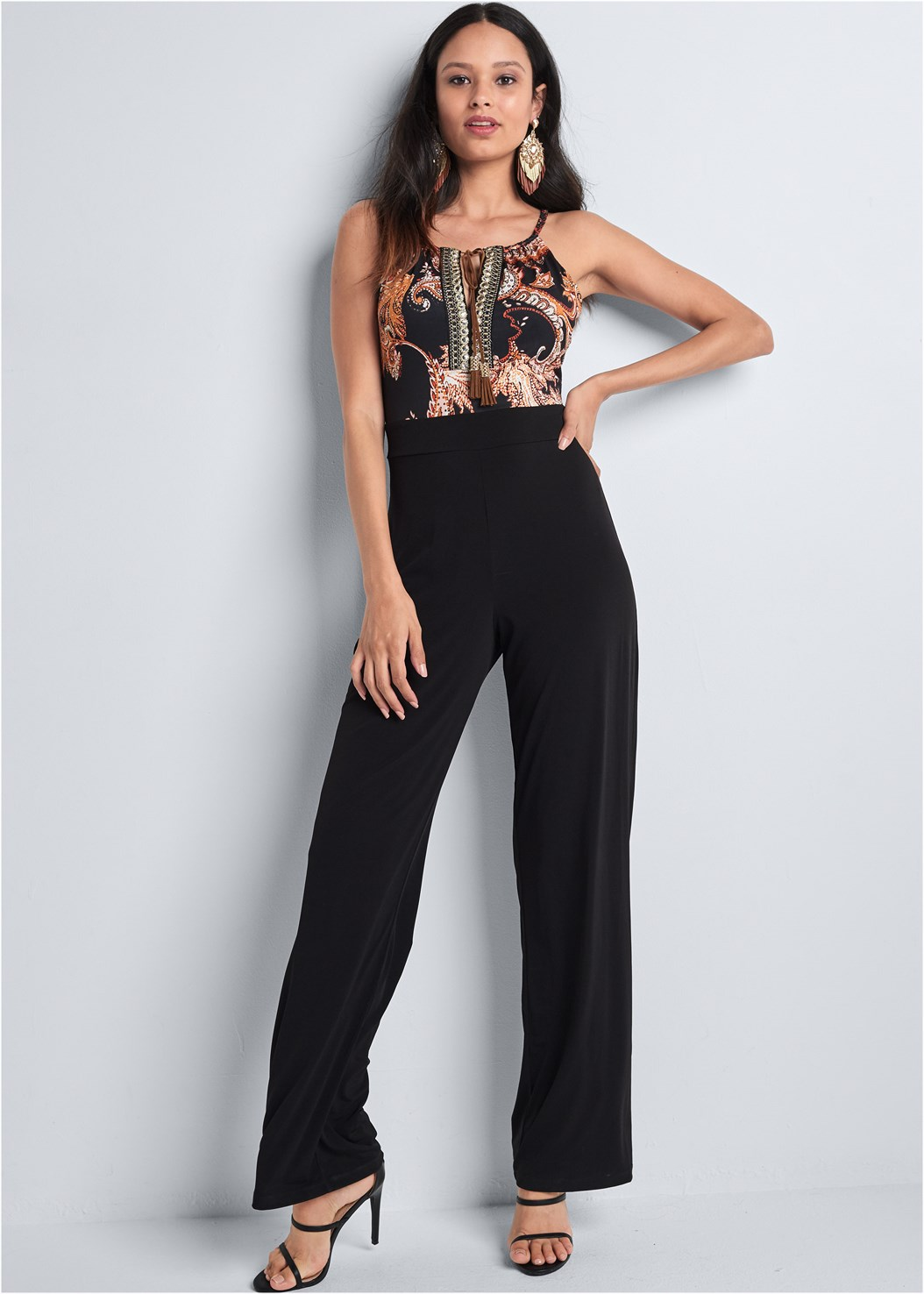 Paisley Printed Jumpsuit,Kissable Convertible Bra,High Heel Strappy Sandals,Embellished Fringe Earrings