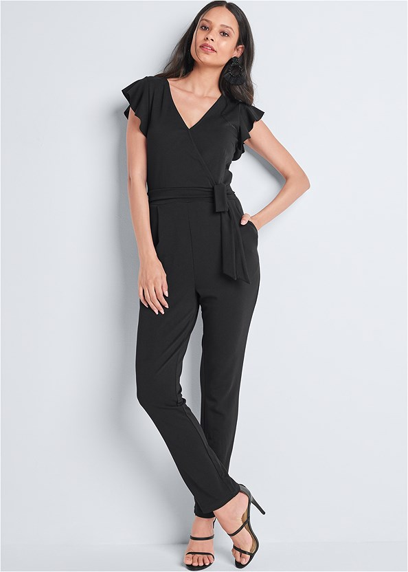 Ruffle Detail Jumpsuit,Kissable Convertible Bra,High Heel Strappy Sandals,Beaded Tassel Earrings