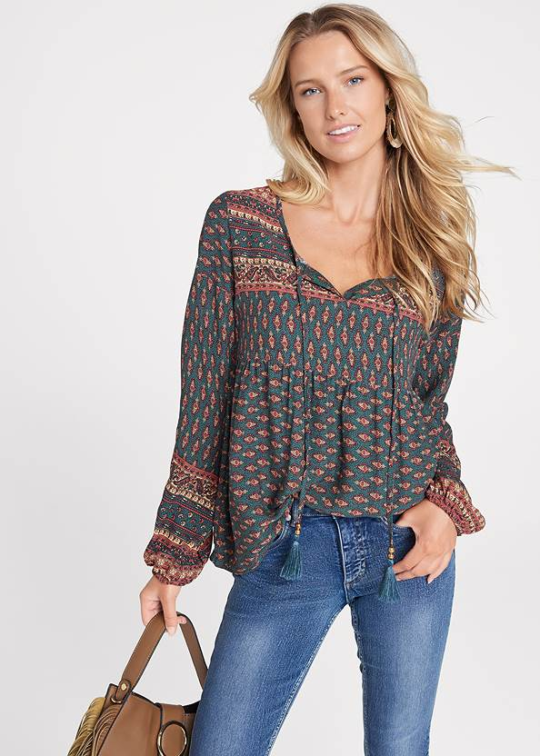 Boho Printed Top,Casual Bootcut Jeans,Frayed Cut Off Jean Shorts,Layered Long Necklace,Mixed Earring Set