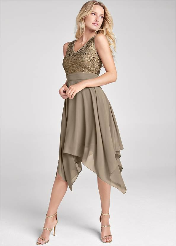 Sequin Detail Party Dress,Pearl By Venus® Lace Bralette,High Heel Strappy Sandals,Tiger Detail Earrings,Tassel Hoop Earrings,Animal Chain Crossbody Bag