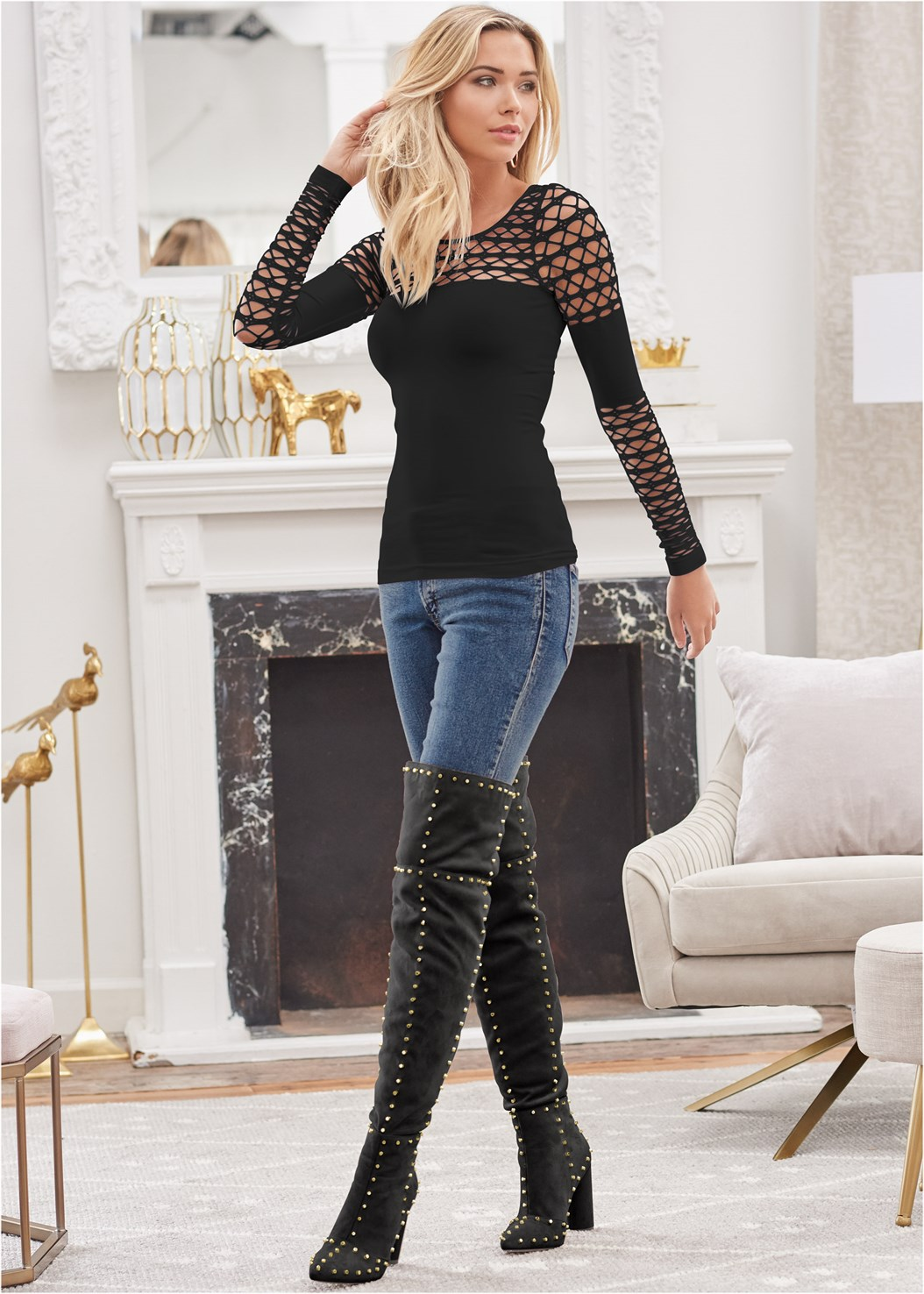Seamless Stretch Fitted Cut Out Top,Mid Rise Color Skinny Jeans,Reversible Jeans,Faux Leather Pants,Smooth Longline Push Up Bra,Studded Over The Knee Boots,Tiger Detail Earrings,Rhinestone Fringe Earrings,Stud Detail Belt