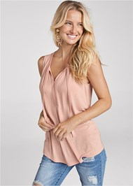 Cropped Front View Tie Detail Casual Top