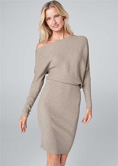 One Shoulder Sweater Dress