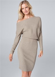 Cropped front view One Shoulder Sweater Dress