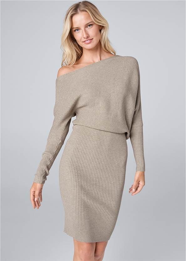 One Shoulder Sweater Dress,Rhinestone Ankle Wrap Heels