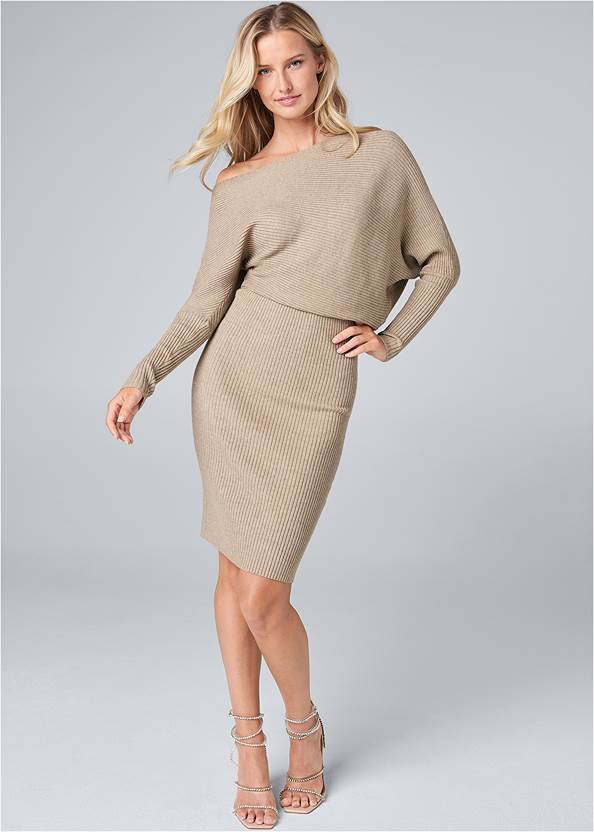 Full front view One Shoulder Sweater Dress