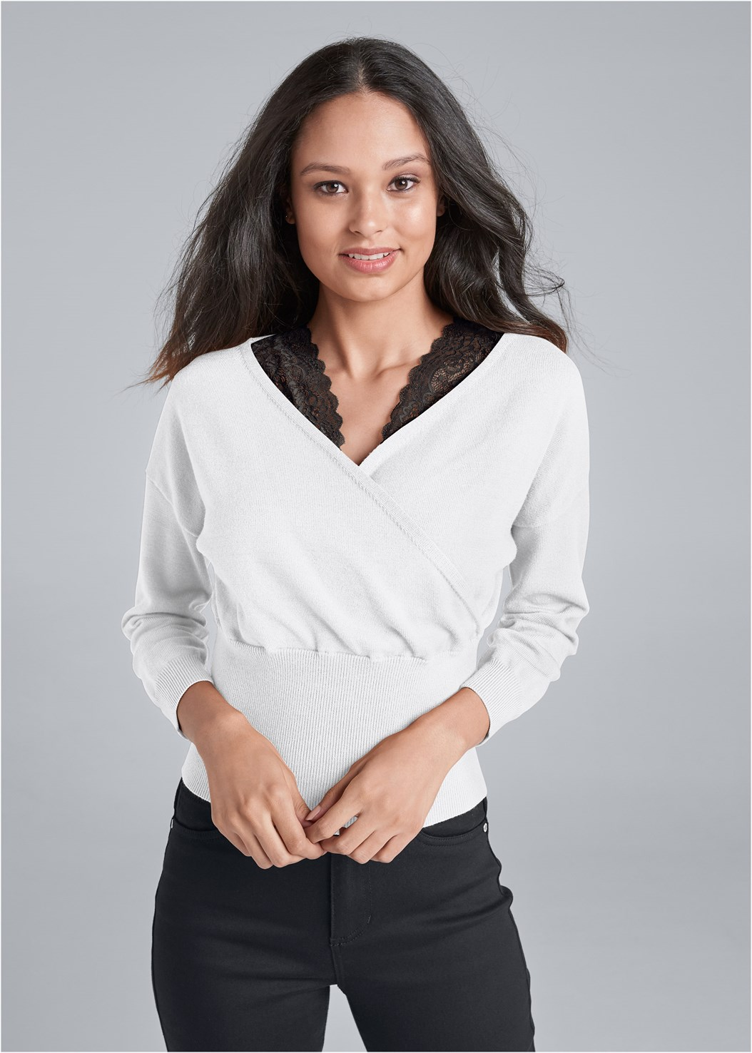 Cross Front Lace Sweater,Bum Lifter Jeans,Thong Strap Kitten Heel