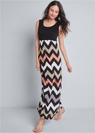 Front View Chevron Printed Maxi Dress