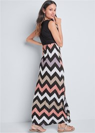 Back View Chevron Printed Maxi Dress