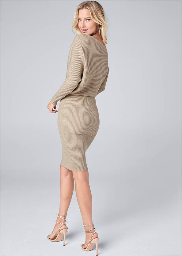 Full back view One Shoulder Sweater Dress