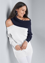 Cropped Front View One Shoulder Sweater