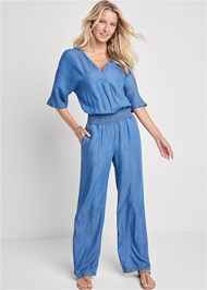 Front View Chambray Jumpsuit