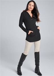 Full Front View Diagonal Zip Lounge Jacket