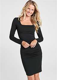 Front View Ruched Long Sleeve Dress