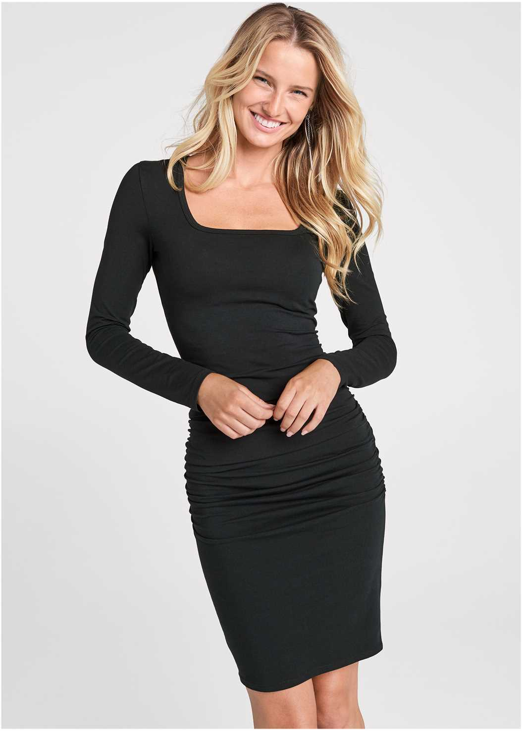 Ruched Long Sleeve Dress,Seamless Unlined Bra,Peep Toe Booties,Studded Handbag
