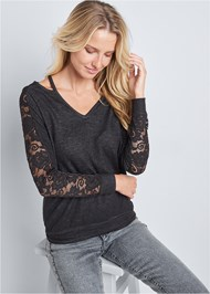 Alternate View Lace Sleeve Sweatshirt