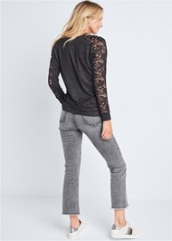 Back View Lace Sleeve Sweatshirt