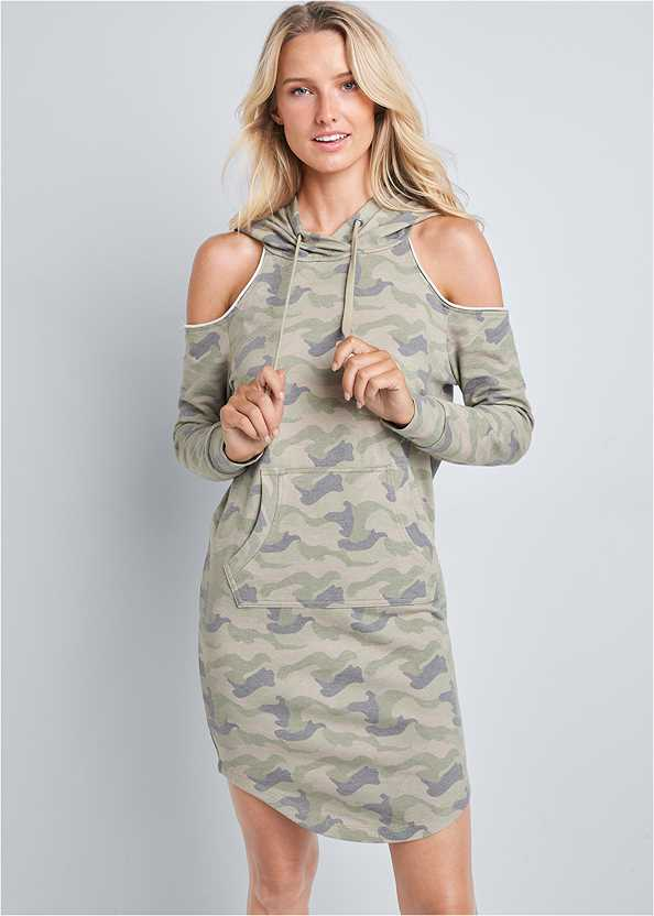 Cold Shoulder Lounge Dress,Seamless Lace Comfort Bra