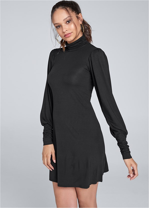 Turtleneck Dress,Seamless Unlined Bra,Mixed Earring Set