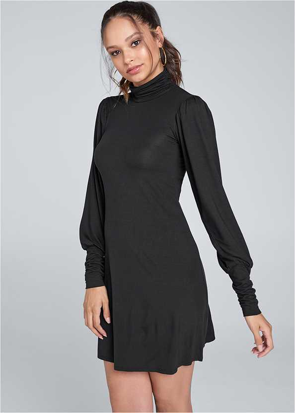 Turtleneck Dress,Seamless Unlined Bra