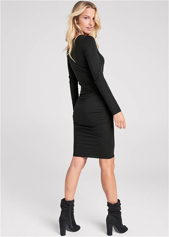 Alternate View Ruched Long Sleeve Dress