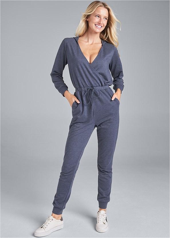 Surplice Lounge Jumpsuit,Cozy Sleep Robe,Denim Sandal