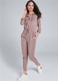 Full Front View Utility Lounge Jumpsuit