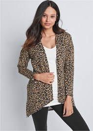 Cropped Front View Leopard Lounge Cardigan