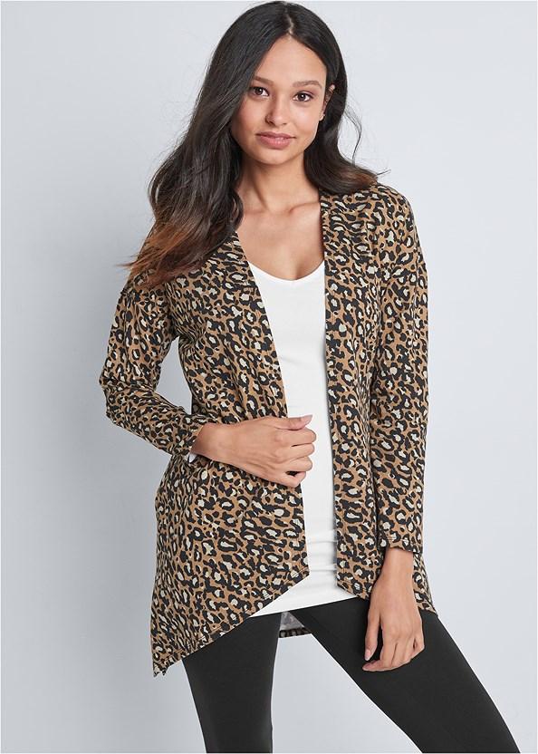 Leopard Lounge Cardigan,Long And Lean V-Neck Tee,Basic Leggings,Seamless Lace Comfort Bra,Knee High Block Heel Boot