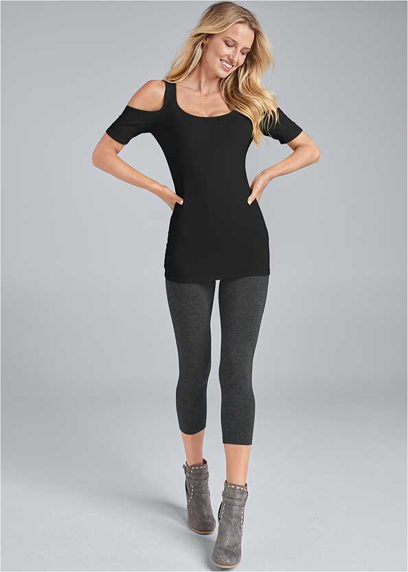 Capri Legging Two Pack,Long And Lean Cold Shoulder,Wrap Stitch Detail Booties