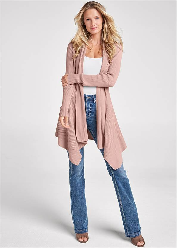 Front View Waterfall Cardigan