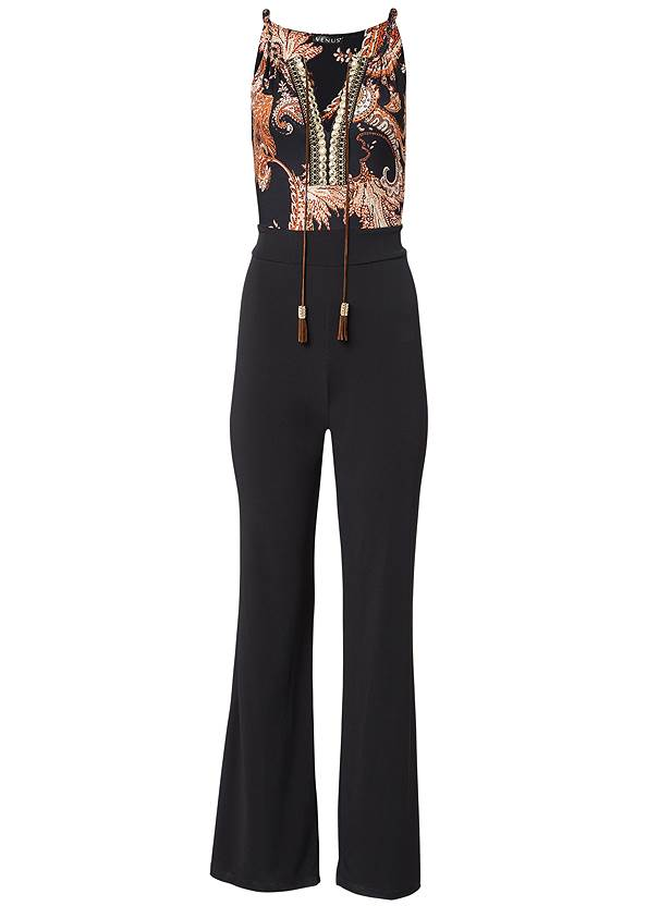 Full Front View Paisley Printed Jumpsuit