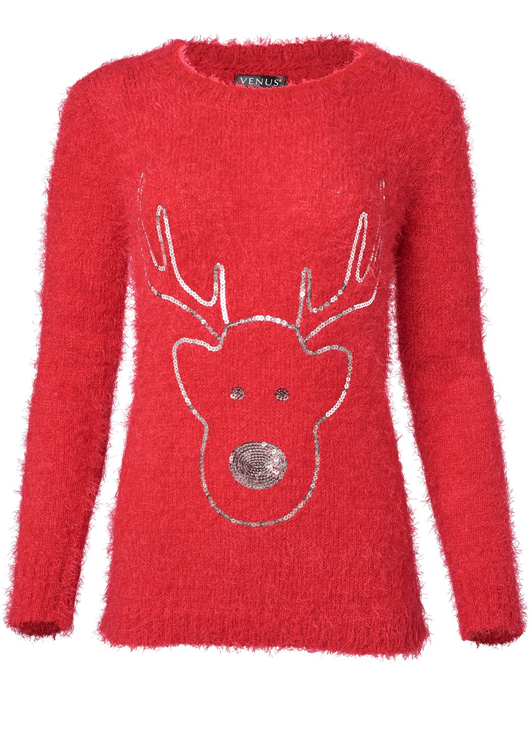 Reindeer Sweater,Casual Bootcut Jeans,Knee High Block Heel Boot