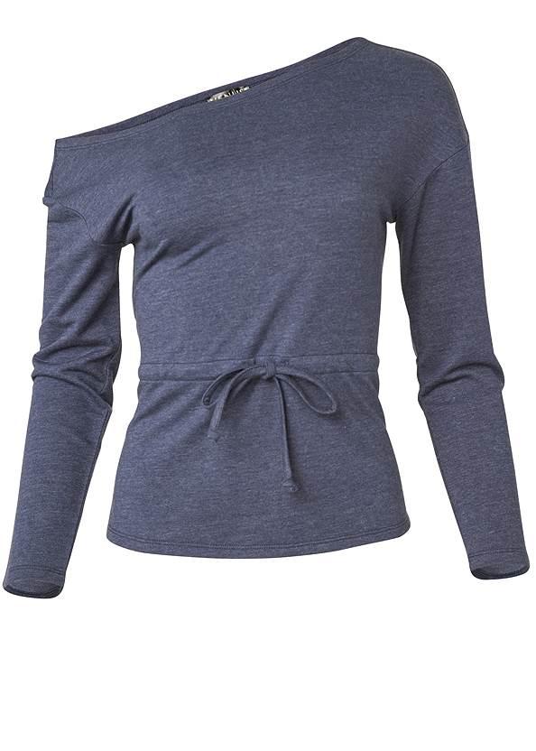 Mineral Wash Off Shoulder Sweatshirt,Capri Legging Two Pack