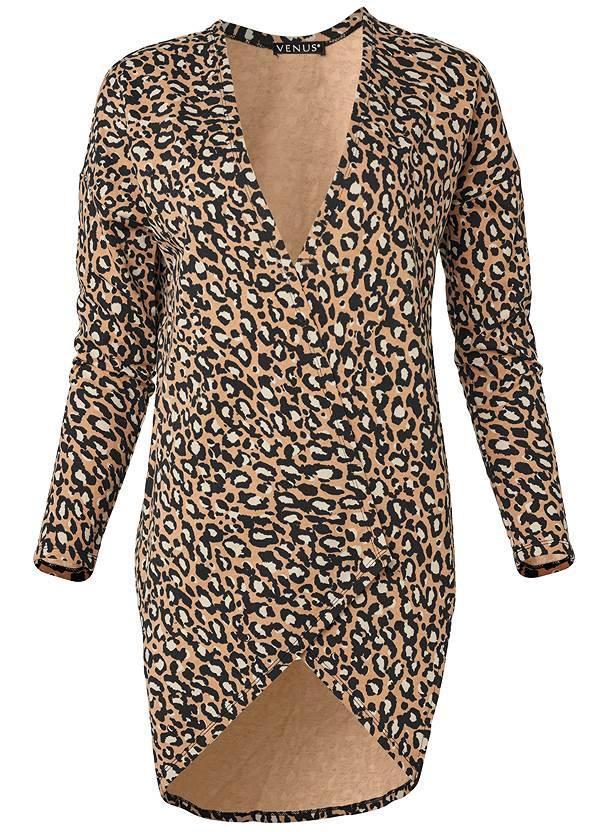 Leopard Lounge Cardigan,Long And Lean V-Neck Tee,Basic Leggings,Knee High Block Heel Boots