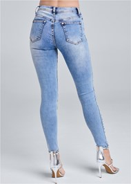 Back View Embellished Rip Jeans