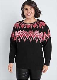Cropped Front View Sequin Detail Sweater