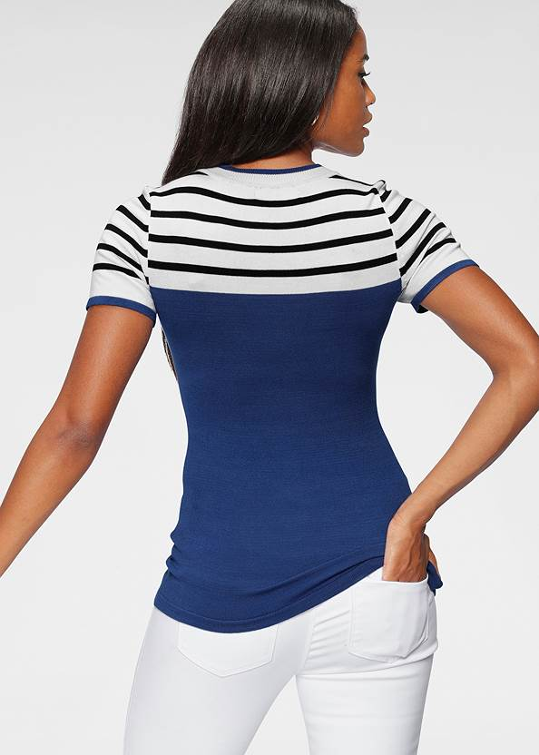 Cropped  view Stripe Detail Sweater
