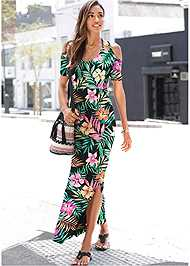 Front View Cold Shoulder Maxi Dress